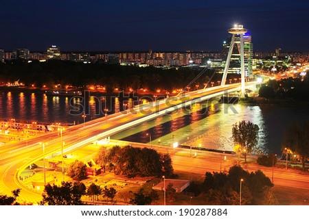 Bridge of the Slovak National Uprising  in Bratislava,  Slovakia. - stock photo