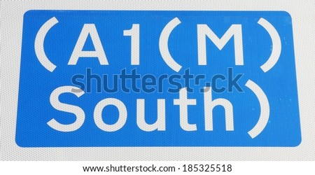 British A1 (M) to the South  Motorway Sign.  - stock photo