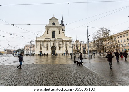 ?BRNO, CZECH REPUBLIC - JANUARY 7: Exterior views of famous buildings and landmarks in the city centre of Brno on January 7, 2016. Brno is the second largest town in Czech Republic. - stock photo