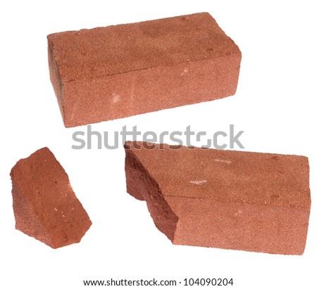 (Broken) brick, isolated on background - stock photo