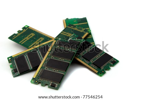 broken computer-memory on a white background - stock photo