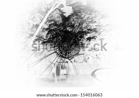 Broken windshield of vehicle  in an accident