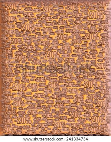 20% bronze metallic background - stock photo