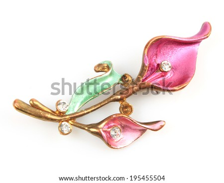 brooch  isolated - stock photo
