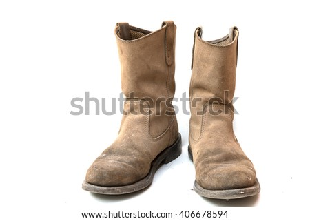 brown safety shoes on white background.