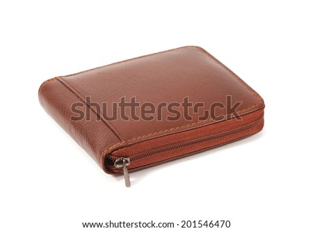 Brown wallet isolated on white background - stock photo