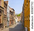 Bruges. Belgium. Classic urban environment of the medieval city. Summer urban landscape. - stock photo