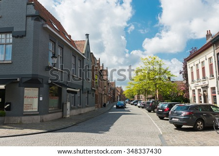 BRUGES, BELGIUM - MAY 28 2015: street in Bruges, Belgium. Bruges is the capital and largest city of the province of West Flanders in the Flemish Region of Belgium.