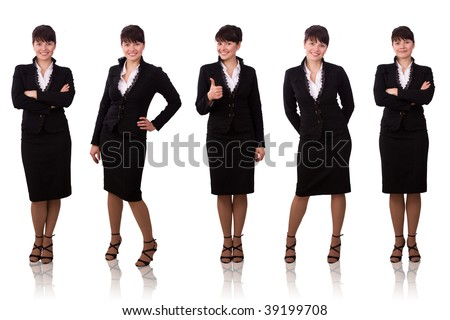 Brunette businesswoman dressed in black suit. Isolated over white background.