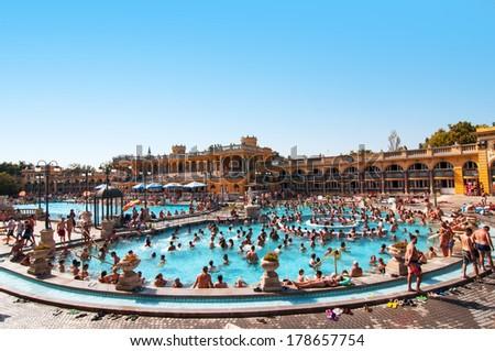 BUDAPEST, HUNGARY - JULY 8, 2013: Szechenyi thermal baths in Budapest, Hungary - stock photo