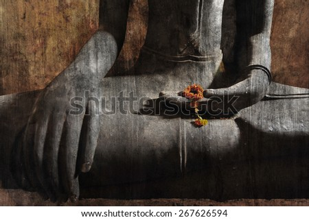 """buddha statue and flower"" Mural. The cement painting concept"