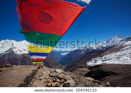 Buddhist prayer flags in Manaslu region