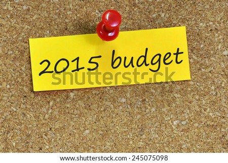 2015 budget on notepaper with brown cork background - stock photo