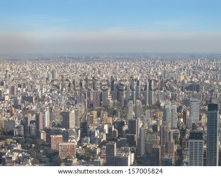 Buenos Aires with smog, Argentina.   - stock photo