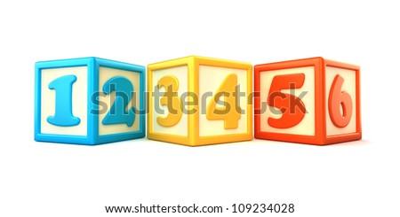 123 building blocks on white background - stock photo