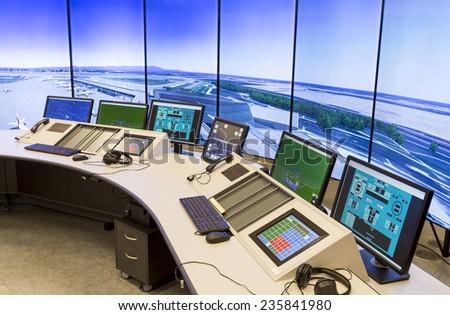 """Bulgarian Air Traffic Services Authority"" (BULATSA) control center. - stock photo"