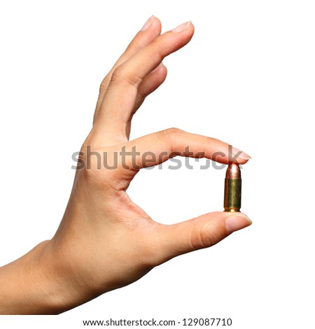 Bullet in Woman Hand,Isolated on White background