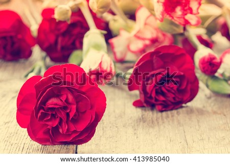 Bunch of red carnations close-up on wooden background