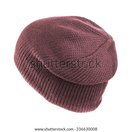 Burgundy knitted hat isolated on white background .