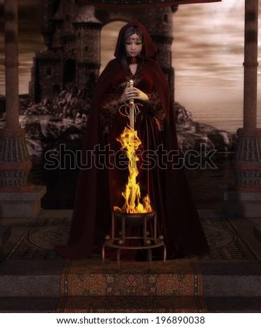 'Burning Blade', digital fantasy illustration of red-garbed sorceress pulling a flaming sword from a magical brazier. - stock photo