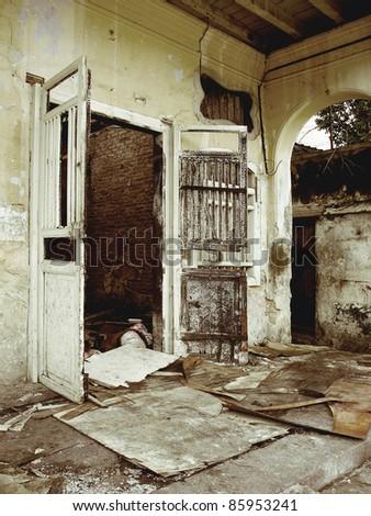 burnt house  urban decay - stock photo