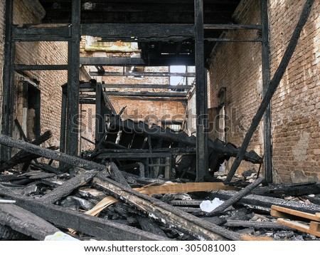 burnt out  abandoned building