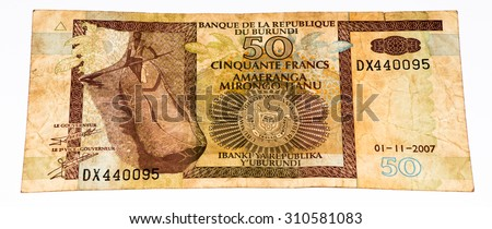 50 Burundian francs. Burundian franc is the national currency of Republic Burundi