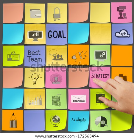 business hand push  icons of business strategy on sticky note as concept - stock photo