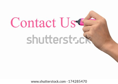 Business hand writing Contact Us concept   - stock photo