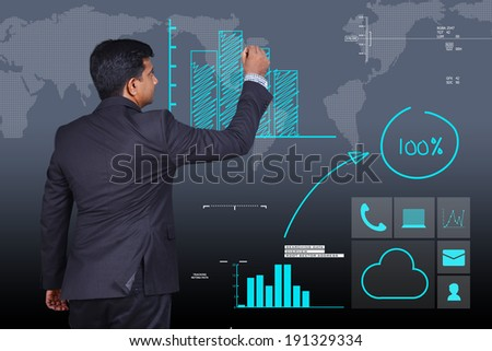 business man drawing increased growth graph   - stock photo