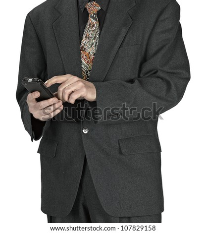business man sending a text message using mobile phone on white background