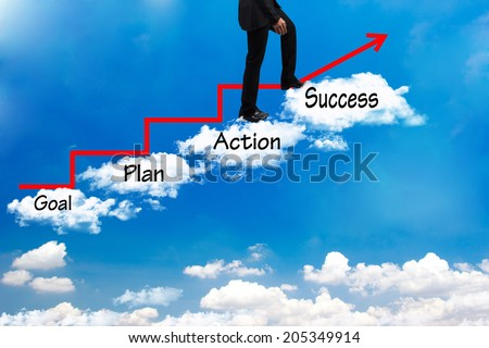 business man walking up stepping cross cloud stairs have red rising arrow on blue sky with word goal plan action success idea concept for success and growth - stock photo