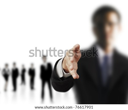business man with an open hand ready - stock photo