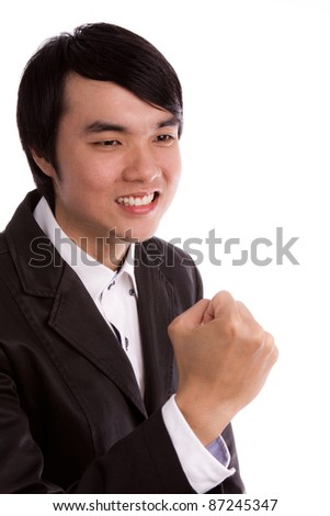 Business man with arms raised in success Isolated on white