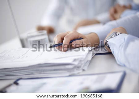 Business people discussing a financial plan - stock photo