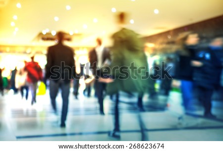 Business people moving blur. People walking in rush hour. Business and modern life concept - stock photo