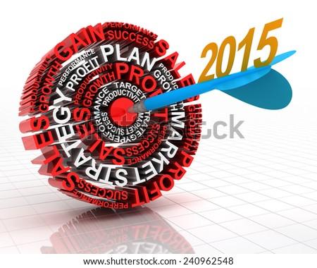 2015 business target, 3d render - stock photo