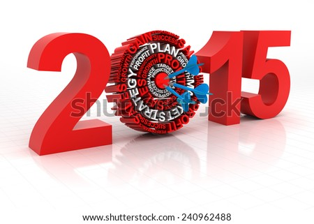 2015 business target, 3d render, with clipping path - stock photo