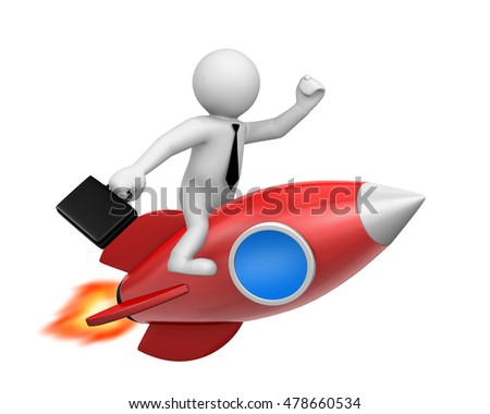 Businessman and a rocket is strat up symbol, 3d rendering