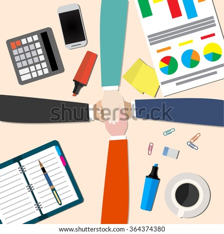 businessman and woman join hands  - stock photo