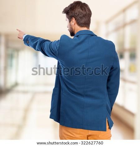 businessman back pose - stock photo