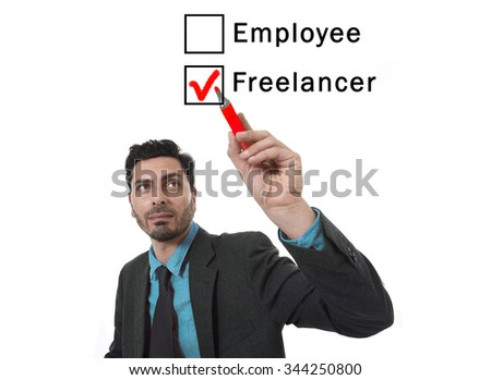businessman choosing freelancer to employee option at work formular ticking box with red marker on glass isolated on white in self employment versus company salary and freelance working concept - stock photo