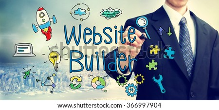 Businessman drawing Website Builder concept above the city - stock photo