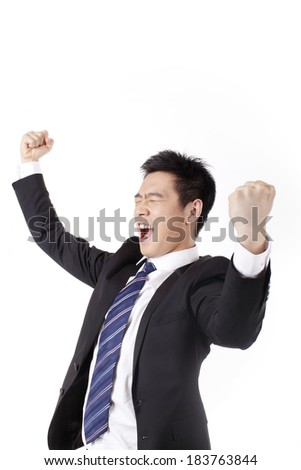 Businessman excited about his success in front of white background - stock photo