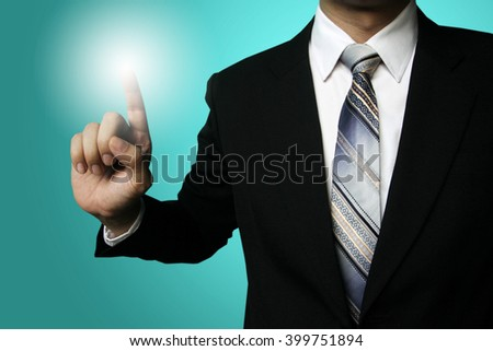 businessman finger click, businessman pressing button contact on virtual screens,business, technology, internet and networking concept - businessman pressing button with contact on virtual screens - stock photo