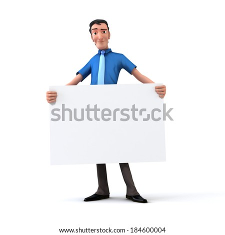 Businessman holding white board - stock photo