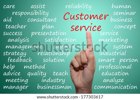 businessman pointing customer service concept
