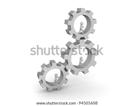 3 Businessman running inside big gears - 3d render illustration - stock photo