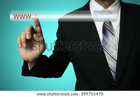 businessman search internet, business success chart concept on virtual screen, Holding bar chart and graphs drawn on virtual screen, raised up. Concept of business analysis ,search engine.