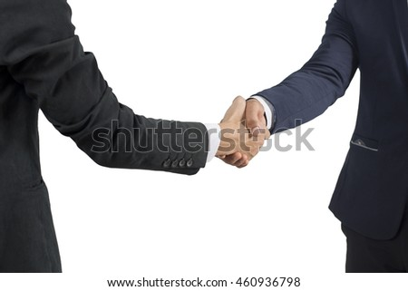 businessman shaking hands  isolate on white background, asian